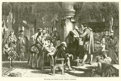 Reading the Bible in St Paul's, London--Giclee Print