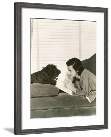 Reading with a Loyal Friend--Framed Photo