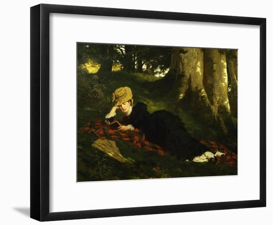 Reading Woman in Forest , 1875-Gyula Benczur-Framed Giclee Print