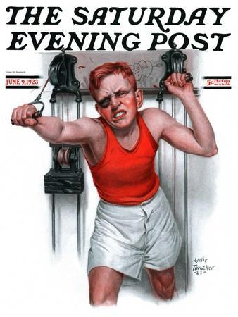 """""""Readying for Rematch,"""" Saturday Evening Post Cover, June 9, 1923-Leslie Thrasher-Giclee Print"""