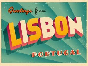 Vintage Touristic Greeting Card - Lisbon, Portugal by Real Callahan