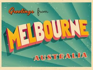 Vintage Touristic Greeting Card - Melbourne, Australia by Real Callahan