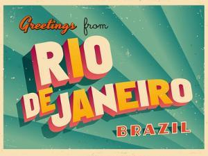 Vintage Touristic Greeting Card - Rio De Janeiro, Brazil by Real Callahan