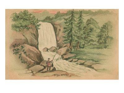 Real Sport, Fishing by Waterfall--Art Print