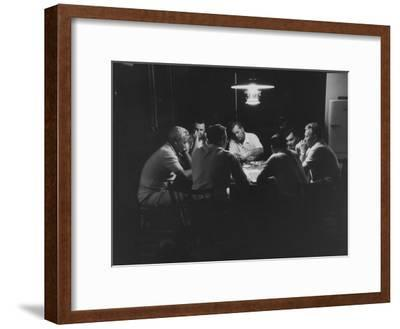 Realtor Brothers Frank Mackle and Elliott Mackle Playing Poker--Framed Premium Photographic Print