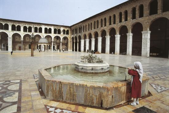 Rear View of a Woman Standing Near a Fountain in a Mosque, Umayyad Mosque, Damascus, Syria--Photographic Print