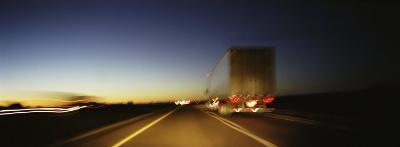 Rear View of Truck on a Two Lane Highway, Las Cruces, New Mexico, USA--Photographic Print
