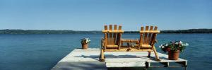 Rear View of Two Adirondack Chairs on a Dock, Minnesota, USA