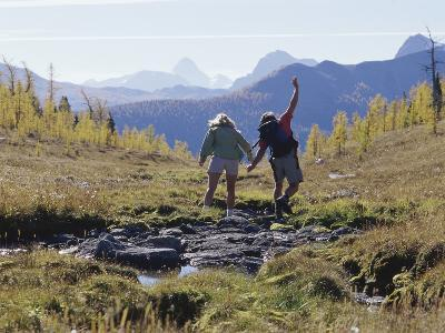 Rear View of Two Women Hiking--Photographic Print