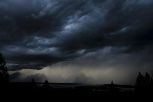 A Storm Brews Outside Of Yellowstone National Park, Wyoming by Rebecca Gaal