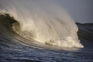 Surfing In Half Moon Bay, California by Rebecca Gaal