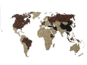 A Map of the World Made with Coffee Beans by Rebecca Hale