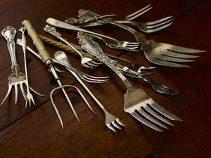 Various Forks Used for Eating Fish, Oysters, Shrimp, Scallops, Snails and Lobster by Rebecca Hale