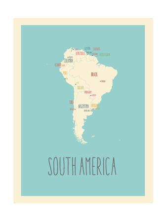 Blue America Map by Rebecca Lane