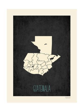 Black Map Guatemala by Rebecca Peragine