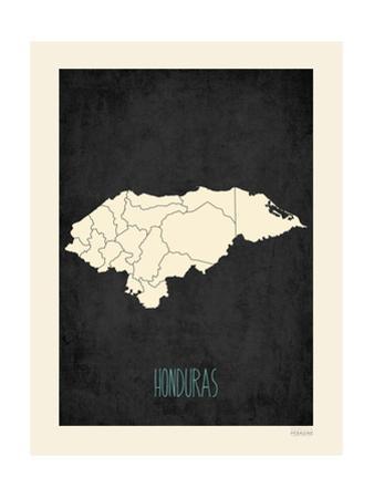 Black Map Honduras by Rebecca Peragine