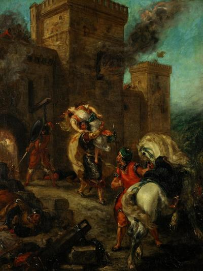 Rebecca Raped by a Knight Templar During the Sack of the Castle Frondeboeuf-Eugene Delacroix-Giclee Print