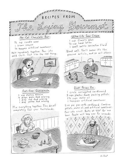 Receipes From The Lying Gourmet - New Yorker Cartoon-Roz Chast-Premium Giclee Print