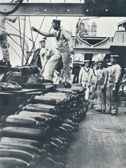 Receiving shells for the naval guns on the deck of a battleship, c1914-Unknown-Photographic Print
