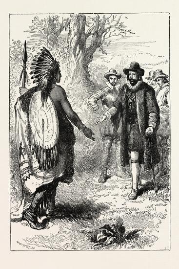 Reception of a Narragansett Warrior by John Winthrop (1587-1649)--Giclee Print