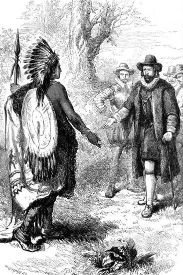 Reception of a Narragansett Warrior, Massachusetts, C1630S-Whymper-Giclee Print