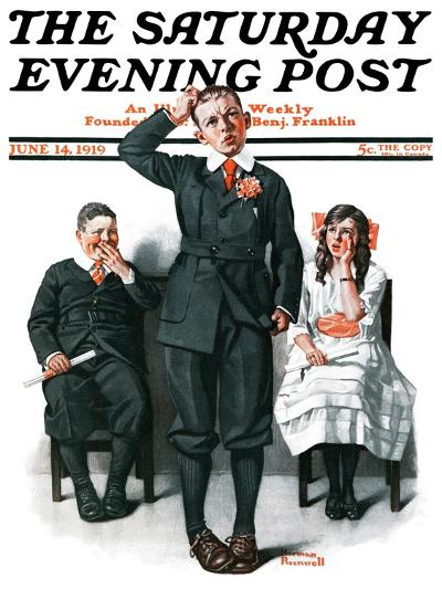 """""""Recitation"""" Saturday Evening Post Cover, June 14,1919-Norman Rockwell-Giclee Print"""