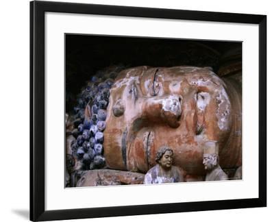 Reclining Buddha at Baoding Grottoes, Dazu, China-Martin Moos-Framed Photographic Print