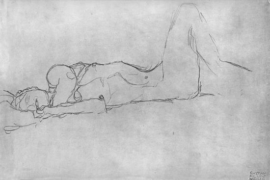 Reclining Female Nude, c.1914-Gustav Klimt-Giclee Print
