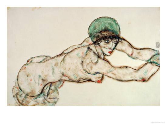 Reclining Female Nude with Green Cap, Leaning to the Right, 1914-Egon Schiele-Giclee Print