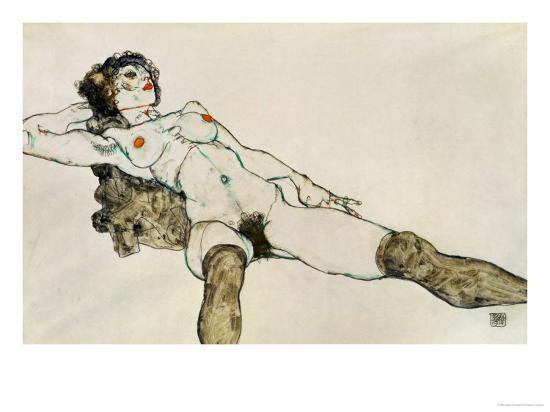 Reclining Female Nude with Legs Spread, 1914-Egon Schiele-Giclee Print