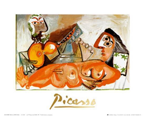 Reclining Nude and Musician-Pablo Picasso-Art Print