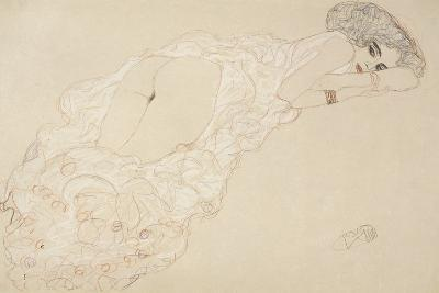 Reclining Nude Lying on Her Stomach and Facing Right, 1910-Gustav Klimt-Giclee Print