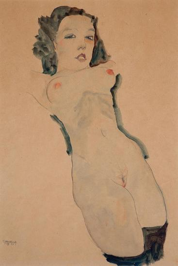 Reclining Nude with Black Stockings-Egon Schiele-Giclee Print