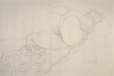 Reclining Nude with Leg Raised-Gustav Klimt-Giclee Print
