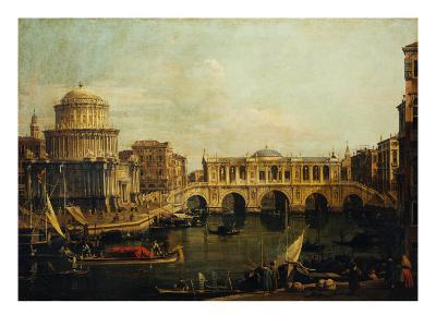 Reconstruction of Castel Sant'Angelo and the Bridge-Canaletto-Giclee Print