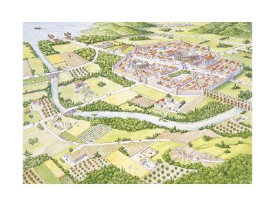 Reconstruction of Roman City--Giclee Print
