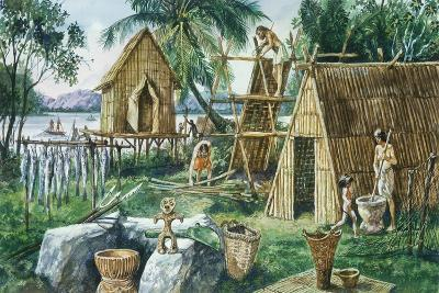 Reconstruction of Settlement of Late Jomon Period, Japan--Giclee Print
