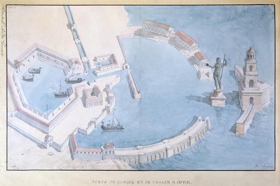 Reconstruction of the Roman Port of Ostia, C.1850-Andre Lenoir-Giclee Print