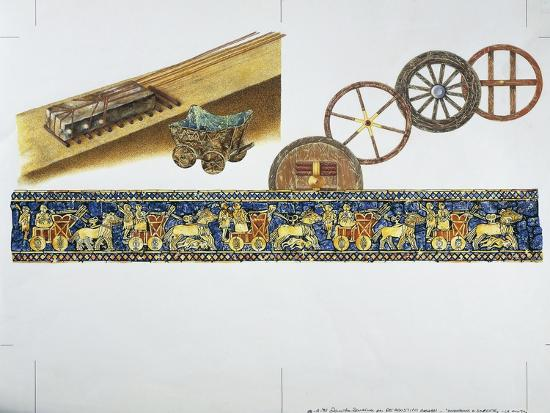 Reconstruction of the Wheel in Ancient Times, 1996--Giclee Print