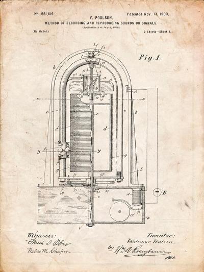Recording Device Patent 1900-Cole Borders-Art Print