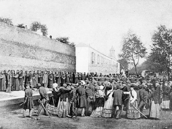 Recreation of the Massacre of 62 Hostages on the Rue Haxo, Belleville, Paris, 1871-Eugene Appert-Photographic Print