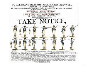 Recruitment Poster for Continental Soldiers to Serve in the American Revolution