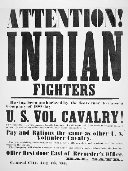Recruitment Poster For the U.S. Volunteer Cavalry, 1864--Giclee Print