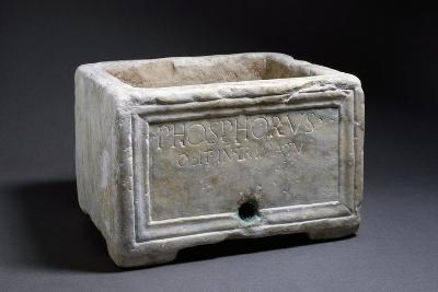 Rectangular Marble Funerary Urn with Bas-Relief Decorations--Giclee Print