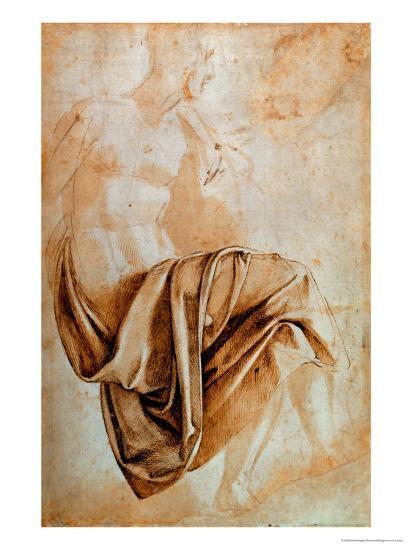 Recto Study of Drapery-Michelangelo Buonarroti-Giclee Print