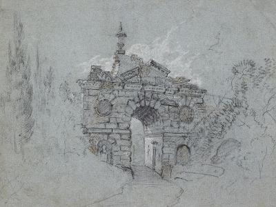 Recto: the Ruined Arch at Kew (Red, Black and White Chalk on Blue Paper)-Richard Wilson-Giclee Print