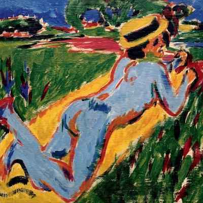 Recycling Blue Nude in a Straw Hat, 1909-Ernst Ludwig Kirchner-Giclee Print