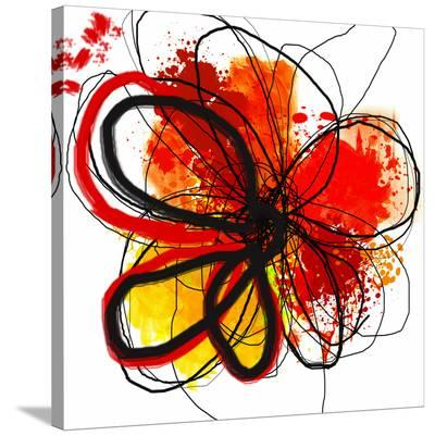 Red Abstract Brush Splash Flower I-Irena Orlov-Stretched Canvas Print