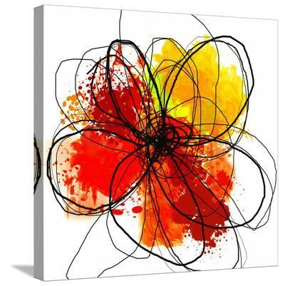 Red Abstract Brush Splash Flower II-Irena Orlov-Stretched Canvas Print
