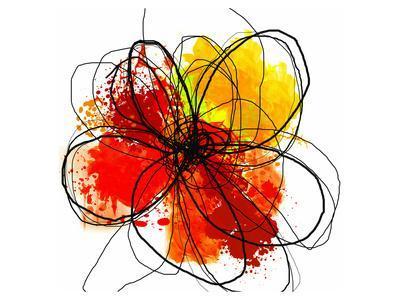 Red Abstract Brush Splash Flower II-Irena Orlov-Art Print
